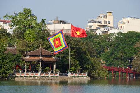 returned: HANOI, VIETNAM - JANUARY 10, 2016: Ancient Temple on the lake Hoakim, sunny day