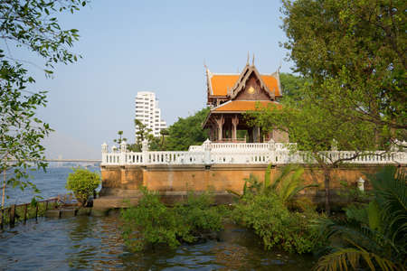 chao phraya river: Vintage wooden Buddhist temple on the banks of the Chao Phraya river. Bangkok, Thailand