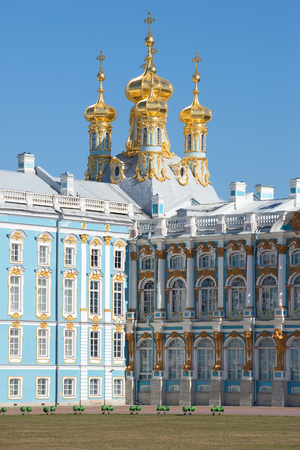 The domes of the resurrection Church of the Catherine Palace, sunny april day. Tsarskoye Selo, Russia