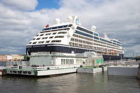 quest: SAINT PETERSBURG, RUSSIA - JUNE 18, 2016: Five-star cruise ship Azamara Quest at the pier passenger terminal English harbour Editorial