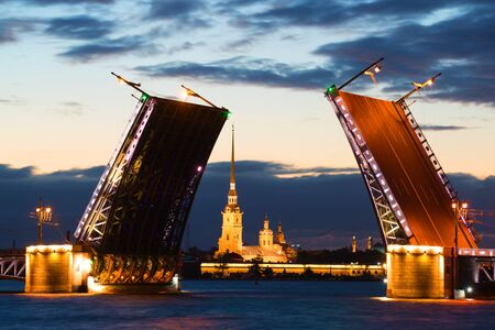diluted: Peter and Paul Cathedral in the alignment of the diluted Palace Bridge at white night. Saint-Petersburg, Russia