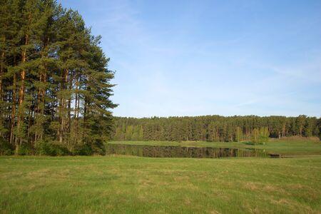 gory: May morning at lake Malenets. Mikhailovskoe, Pushkinskie Gory, Pskov region, Russia