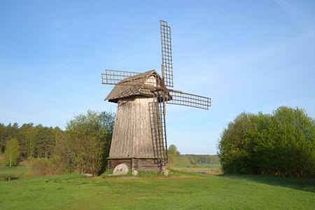 gory: View of the old windmill in Mikhailovskoe, morning in may. Pskov region, Pushkinskiye Gory, Russia