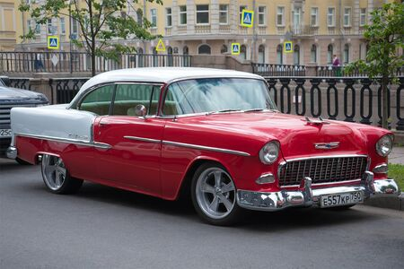 chevrolet: SAINT PETERSBURG, RUSSIA - JUNE 18, 2016: American full-size Chevrolet Bel Air 1955 year close-up on the streets of St. Petersburg Editorial