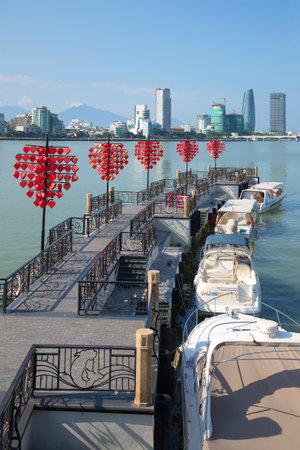 "DA NANG, VIETNAM - JANUARY 06, 2016: Pier ""DHS-marina"" on the Han river on a sunny morning Sajtókép"