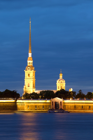 christendom: Peter and Paul Cathedral from the Palace embankment of the june night. Peter and Paul fortress, Saint Petersburg Editorial