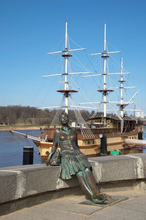 veliky: The sculpture Monument to the tourist, sunny april day. Veliky Novgorod, Russia