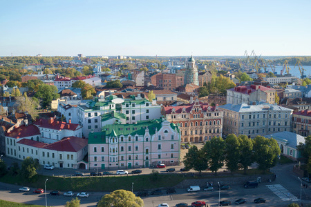 vyborg: The view on the Central part of the city of Vyborg, october evening. Leningrad region, Russia Stock Photo