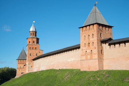 veliky: The old towers of the Kremlin of Veliky Novgorod, sunny october day. Russia