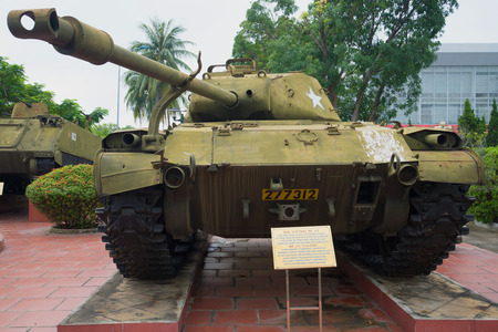 deployed: DA NANG, VIETNAM - JANUARY 06, 2016: Light tank M41 Walker Bulldog with a deployed tower Editorial