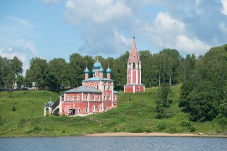 yaroslavl: Church of the icon of mother of God of Kazan on the left bank of the Volga river, july afternoon. Tutayev, Yaroslavl region, Russia