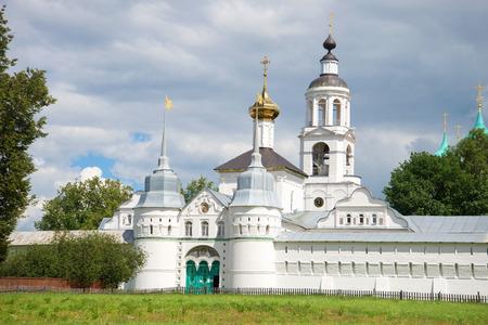 st nicholas: View of Holy gates and Church of St. Nicholas of cloud by day. Svyato-Vvedensky Tolgsky convent, Yaroslavl, Russia Stock Photo