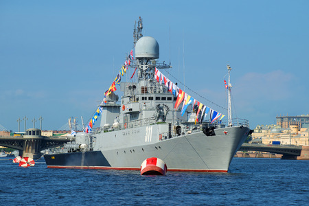 anti season: ST. PETERSBURG, RUSSIA - JULY 28, 2016: Small anti-submarine ship Kazanets closeup in the waters of the Neva. Preparation for Navy Day in St. Petersburg