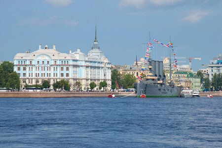 cadet blue: ST. PETERSBURG, RUSSIA - JULY 28, 2016: Nakhimov naval Academy and the cruiser Aurora a Sunny day in July
