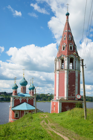 At the old church of Our Lady Mother of Kazan on the Volga river july afternoon. Tutayev, Russia Stock Photo