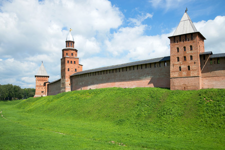 Three medieval towers of the Novgorod Kremlin in sunny day in july. Veliky Novgorod, Russia