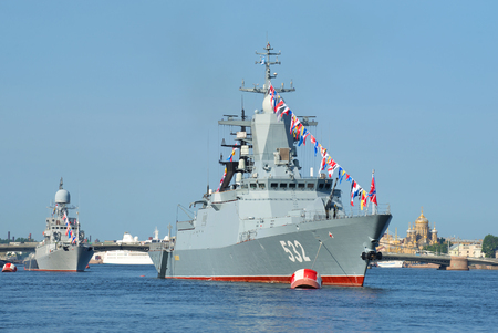 anti season: ST. PETERSBURG, RUSSIA - JULY 28, 2016: Patrol corvette Boykiy and the small anti-submarine ship Kazanets in the waters of the Neva. Day of the Navy in St. Petersburg