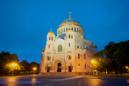 st nicholas: Naval Cathedral of St. Nicholas the Wonderworker, june deserted at night. Kronstadt, Russia Stock Photo