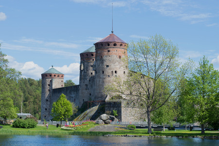 Medieval Olavinlinna castle in june on sunny day. Savonlinna, Finland