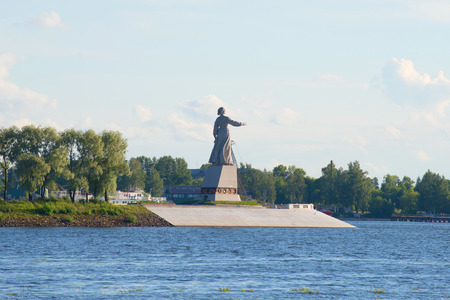 View of the monument Mother Volga, july evening. Rybinsk, Yaroslavl region Stock Photo