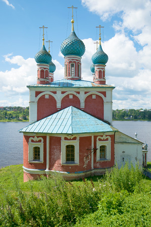 Church of the icon of the Mother of God of Kazan closeup on the banks of the Volga . Tutayev, Yaroslavl region, Russia Stock Photo