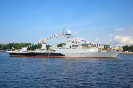 ST. PETERSBURG, RUSSIA - JULY 28, 2016: Small anti-submarine ship Kazan in the Neva river on Navy Day celebration in St. Petersburg Editorial