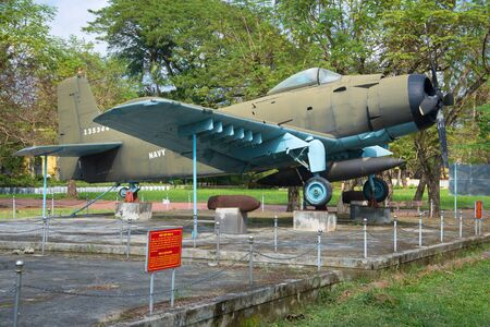 HUE, VIETNAM - JAN 08, 2016: Airplane, AD-6 (Douglas A-1 Skyraider) in the city museum