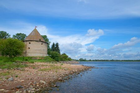 View of the Kingdom tower on the banks of the Neva Sunny August day. The Oreshek Fortress, Russia