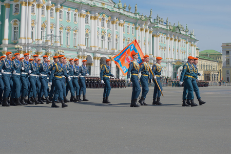 in the ranks: ST. PETERSBURG, RUSSIA - MAY 05, 2015: Kadets of the Institute of EMERCOM in the ranks on parade rehearsal in honor of Victory Day