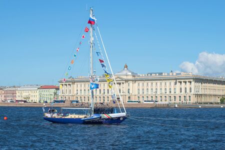 SAINT PETERSBURG, RUSSIA - JULY 25, 2015: Yacht Central Army Sports Club of the Ministry of Defence of Russia in celebration of Navy Day in the Neva river