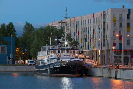 TALLINN, ESTONIA - JULY 31, 2015: Old steamer Admiral in the evening twilight in the port of Tallinn.