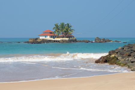 Ancient Buddhist temple Seenigama Muhudu Viharaya on a coral island near Hikkaduwa. Sri Lanka Stock Photo