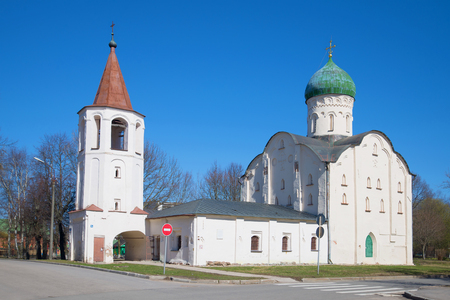 Orthodox church of Theodore Stratelates on the brook (1360), sunny april day. Veliky Novgorod, Russia Stock Photo
