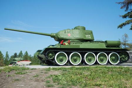 SAINT PETERSBURG, RUSSIA - JUNE 29, 2015:The soviet tank T-34 closeup on a sunny June day. Memorial Pulkovo abroad