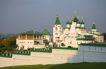 the ascension: The old Pechersky Ascension monastery on an evening in august. Nizhny Novgorod