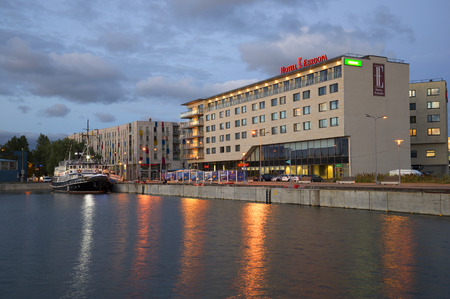 seafronts: TALLINN, ESTONIA - JULY 31, 2015: A view on the hotel Europe on a summer evening