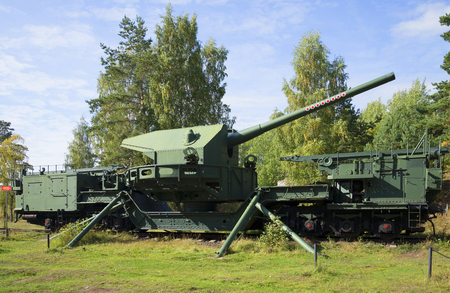 LENINGRAD REGION, RUSSIA - SEPTEMBER 14, 2015: 180-mm gun mount TM-1-180 in a firing position. Fort Krasnaya Gorka (Krasnoflotsk)