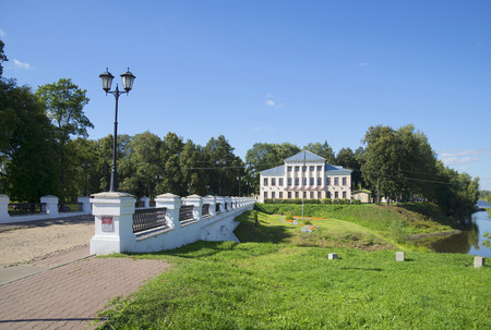 duma: View of the Nicholas bridge and the building of the city Duma. Historical landmark of the city Uglich Stock Photo
