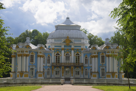 catherine: The Hermitage pavilion in the Catherine Park of Tsarskoye Selo, the cloud by day. Historical landmark of the city Saint Petersburg Editorial