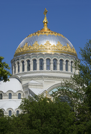 The dome of the old St. Nicholas naval Cathedral a sunny day in july. Kronstadt