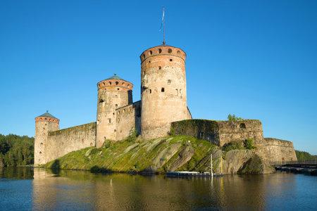 View of Olavinlinna fortress on  evening in August. Savonlinna, Finland
