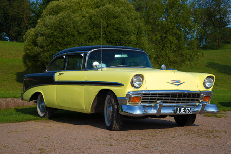 bel air: LAPPEENRANTA, FINLAND - AUGUST 21, 2016: American full-size Chevrolet Bel Air 1956 model year close-up