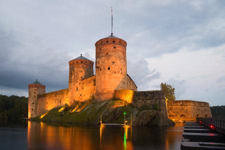 Olavinlinna castle in the August twilight. Savonlinna, Finland