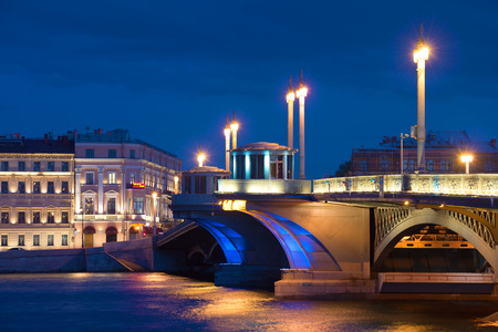 The central part of the Annunciation bridge in night landscape. Saint Petersburg