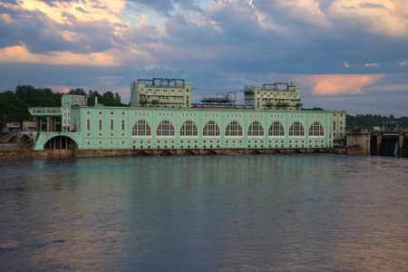 Volkhov hydroelectric power plant closeup in the June twilight