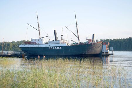 ancient ships: SAVONLINNA, FINLAND - AUGUST 20, 2016: A view of the steamer Salama at the Museum of the ancient ships of the August evening Editorial