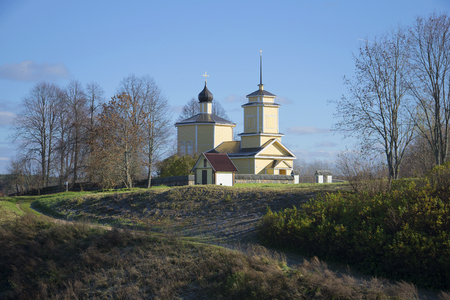 View of the Church of St. George, sunny october day. Trigorskoe, Pskov region