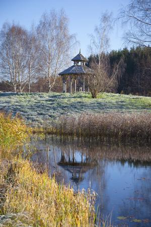 October morning frost at the Petrovsky. Pushkinskiye Gory