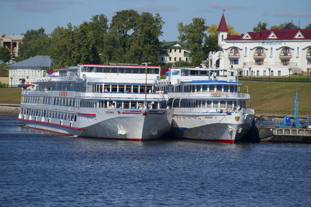uglich russia: UGLICH, RUSSIA - AUGUST 22, 2015: Two cruise ships Lenin and President at the pier of the city of Uglich. Tourist landmark