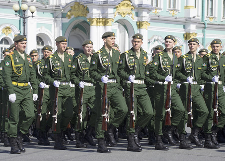 rehearsal: SAINT PETERSBURG, RUSSIA - MAY 05, 2015: Cadets on parade rehearsal in honor of Victory day